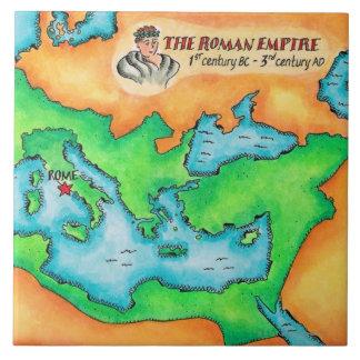 Mapa del imperio romano azulejo cuadrado grande