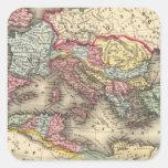 Mapa del imperio romano pegatina cuadrada