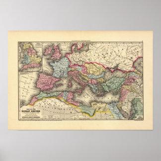 Mapa del imperio romano póster