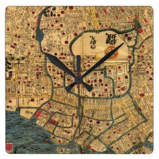 Mapa del japonés: Tokio/Edo Reloj Cuadrado