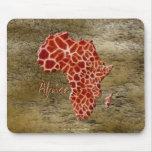 mapa del Jirafa-efecto de África en la piedra rúst Alfombrilla De Ratón