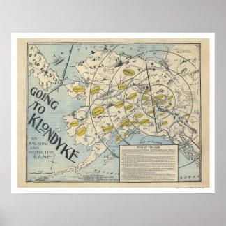 Mapa del Klondyke de un juego de mesa 1897 Póster
