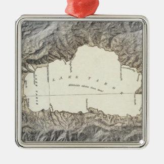 Mapa del lago Tahoe Adorno Cuadrado Plateado