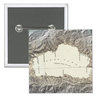Mapa del lago Tahoe Pin Cuadrada 5 Cm
