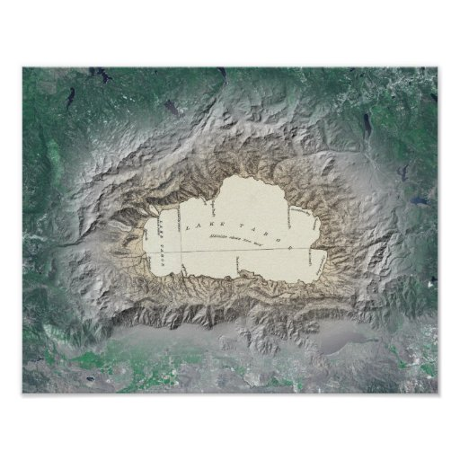 Mapa del lago Tahoe Póster
