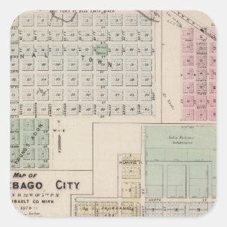 Mapa del mapa de la ciudad del Winnebago de la Pegatina Cuadrada