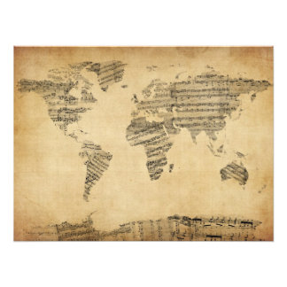 Mapa del mapa del mundo de la vieja partitura impresiones fotograficas