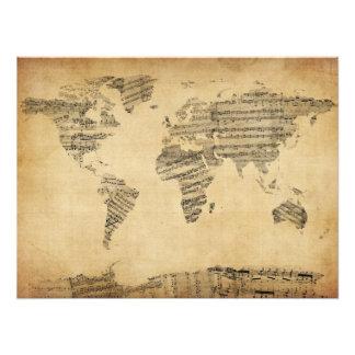 Mapa del mapa del mundo de la vieja partitura fotografia