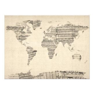 Mapa del mapa del mundo de la vieja partitura impresiones fotográficas