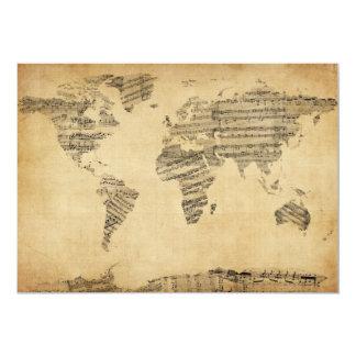 """Mapa del mapa del mundo de la vieja partitura invitación 5"""" x 7"""""""