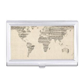Mapa del mapa del mundo de la vieja partitura cajas de tarjetas de presentación