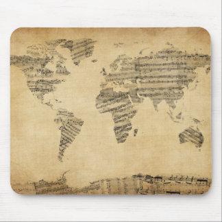 Mapa del mapa del mundo de la vieja partitura alfombrilla de ratón