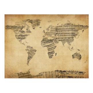 Mapa del mapa del mundo de la vieja partitura postales