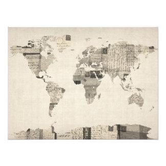 Mapa del mapa del mundo de las postales viejas arte con fotos