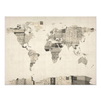Mapa del mapa del mundo de las postales viejas arte fotografico