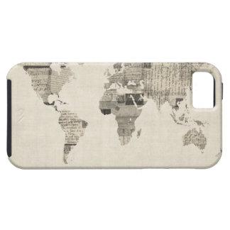 Mapa del mapa del mundo de las postales viejas iPhone 5 fundas