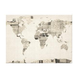 Mapa del mapa del mundo de las postales viejas impresiones de lienzo