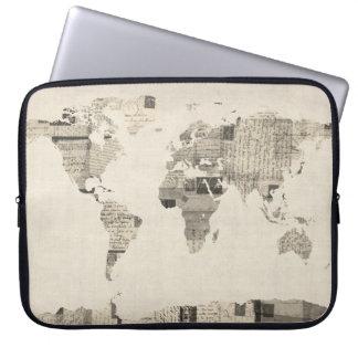 Mapa del mapa del mundo de las postales viejas manga portátil