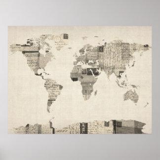 Mapa del mapa del mundo de las postales viejas impresiones