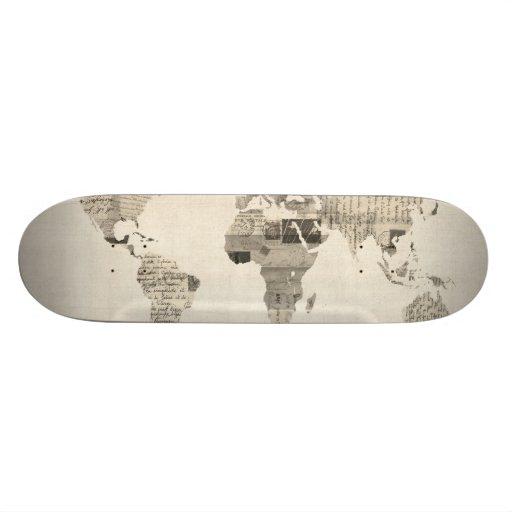 Mapa del mapa del mundo de las postales viejas tabla de patinar