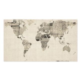 Mapa del mapa del mundo de las postales viejas tarjetas personales