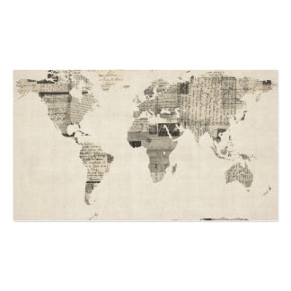Mapa del mapa del mundo de las postales viejas tarjetas de visita