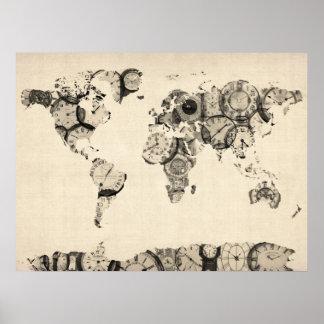 Mapa del mapa del mundo de los relojes viejos póster