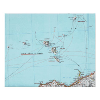 mapa del mappa del eolie del isole posters