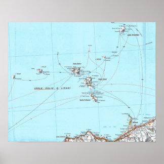 mapa del mappa del eolie del isole póster
