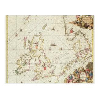 Mapa del Mar del Norte, c.1675 Tarjeta Postal