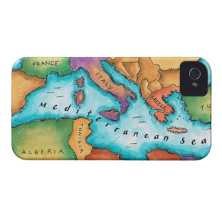 Mapa del mar Mediterráneo iPhone 4 Case-Mate Funda