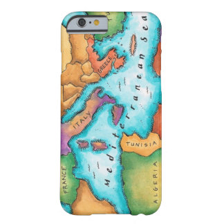 Mapa del mar Mediterráneo Funda De iPhone 6 Barely There