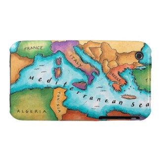 Mapa del mar Mediterráneo iPhone 3 Case-Mate Cárcasas