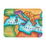 Mapa del mar Mediterráneo Imanes Flexibles