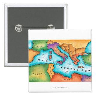 Mapa del mar Mediterráneo Pin Cuadrado