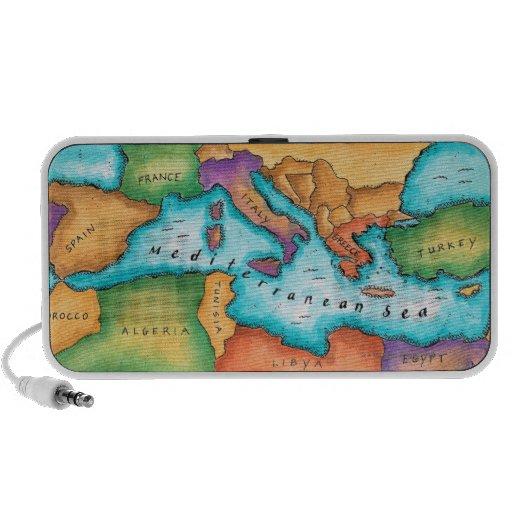 Mapa del mar Mediterráneo Portátil Altavoz