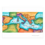 Mapa del mar Mediterráneo Postal
