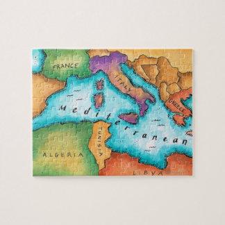 Mapa del mar Mediterráneo Puzzles Con Fotos
