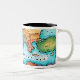 Mapa del mar Mediterráneo Taza Dos Tonos