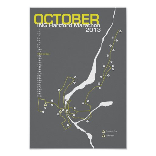 Mapa del maratón de Hartford Impresiones