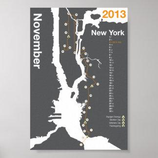 Mapa del maratón de New York City Póster