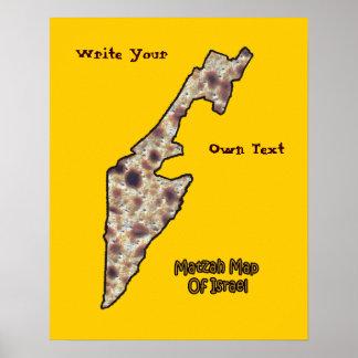 Mapa del Matzah de Israel - escriba su propio text Póster