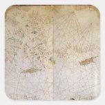 Mapa del mediterráneo del este pegatina cuadradas personalizadas
