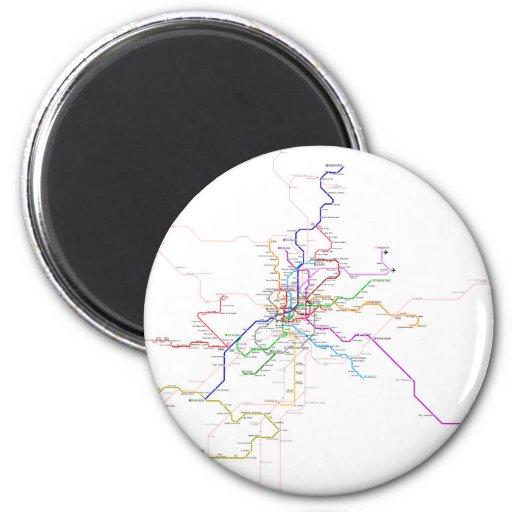 Mapa del metro de España-Madrid Imán Redondo 5 Cm