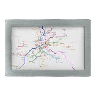 Mapa del metro de Madrid (España) Hebillas Cinturon Rectangulares