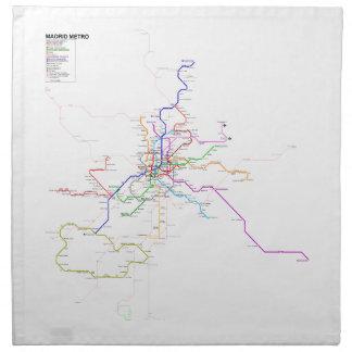 Mapa del metro de Madrid (España) Servilletas Imprimidas