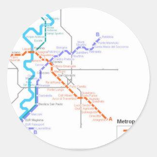 Mapa del metro de Roma Etiquetas Redondas