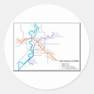 Mapa del metro de Roma Pegatina Redonda