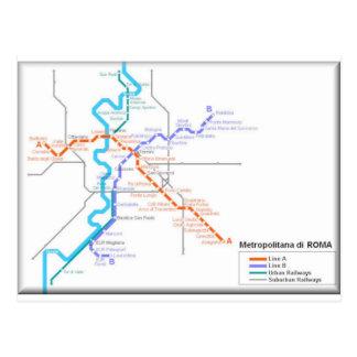 Mapa del metro de Roma Tarjetas Postales