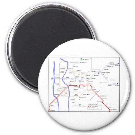 Mapa del metro de Sevilla Imán De Nevera